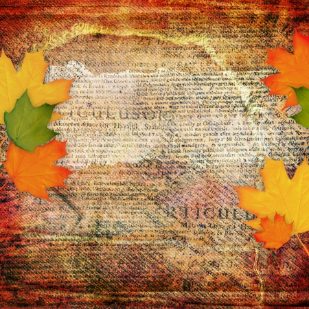 14835243 - grunge abstract background with autumn leaf